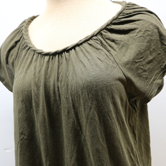 Gap Tops - Gap Olive Green Short Sleeve Braided Neck Woman's